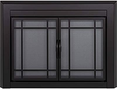 Pleasant Hearth Easton Black Fireplace Glass Firescreen Doors - Small from Pleasant Hearth