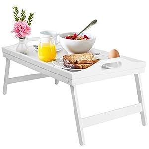 Bandeja de cama para desayuno con patas plegables de madera, bandeja de servir para cama, TV, escritorio, ordenador portátil, bandeja de aperitivos, color blanco