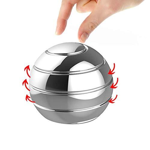 Manzelun Kinetic Desk Toys,Full Body Optical Illusion Fidget Spinner Ball,Gifts for Men,Women,Kids (Silver)