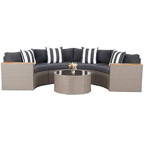 SUNCROWN Outdoor Patio Sofa 5-Piece Half-Moon Sectional Set, All Weather Grey Wicker Conversation Furniture with Tempered Glass Round Table and Thick Cushion (Grey)
