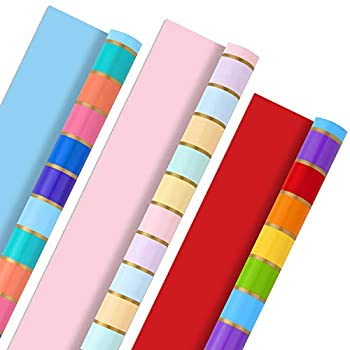 Hallmark All Occasion Reversible Wrapping Paper Bundle - Rainbow Stripes and Solid  3-Pack  75 sq ft ttl  for Easter Mothers Day Birthdays Weddings Bridal Showers Baby Showers and More