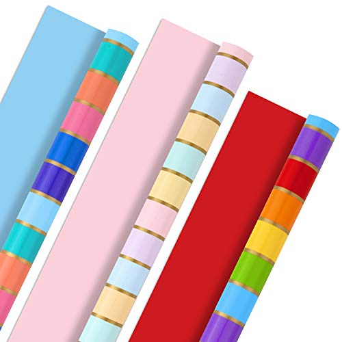 Hallmark All Occasion Reversible Wrapping Paper Bundle - Rainbow Stripes and Solid (3-Pack: 75 sq. ft. ttl.) for Easter, Mothers Day, Birthdays, Weddings, Bridal Showers, Baby Showers and More