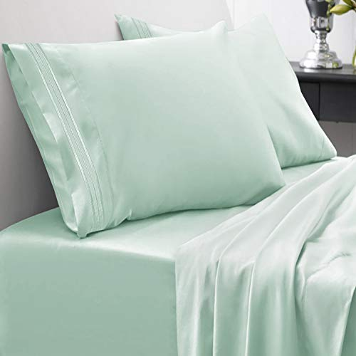 1800 Thread Count Sheet Set – Soft Egyptian Quality Brushed Microfiber Hypoallergenic Sheets – Luxury Bedding Set with Flat Sheet, Fitted Sheet, 2 Pillow Cases, King, Mint