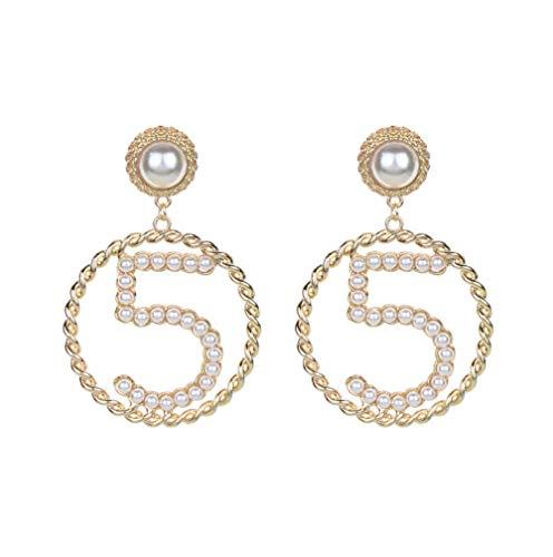 NA Ladies Earrings Girls' Earrings Number 5 Shape Circle Pendant Imitation Pearl Dangle Earrings Dangle Earrings