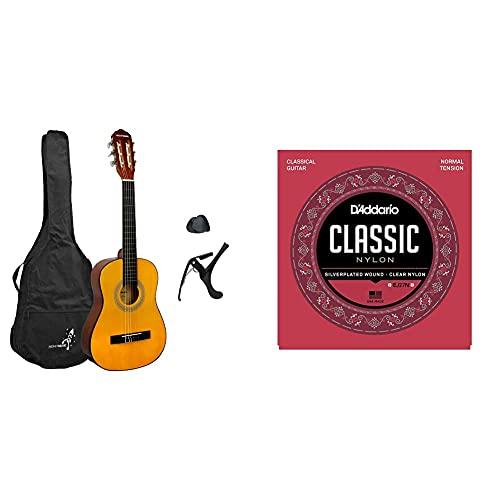 3Rd Avenue Rocket Xf Serie Guitarra Española Clásica, Color Natural, Tamaño 1/2 + D'Addario Ej27N Juego De Cuerdas Para Guitarra Clásica De Nylon