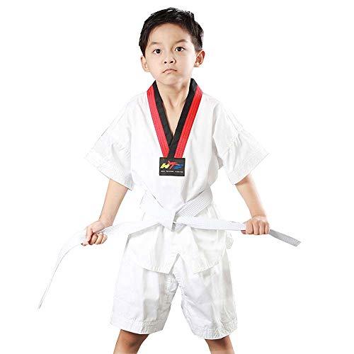 JXS Sommer Taekwondo Trainingsanzug-Halbarm + Shorts, aus Reiner Baumwolle atmungsaktiv mit 1 White Belt-for Taekwondo Martial Arts Training Kinder & Erwachsene,XS