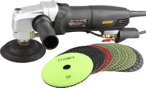 """DAMO Variable Speed Stone Polisher Concrete Polisher Grinder 4"""" Wet Polishing Kit for Granite Concrete Countertop Floor"""