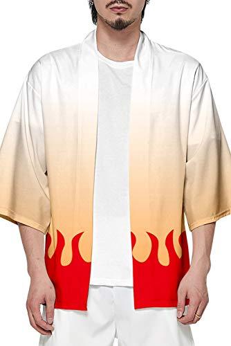 Rengoku Kyoujurou - Abrigo de punto para hombre, diseño de columna de fuego, talla L