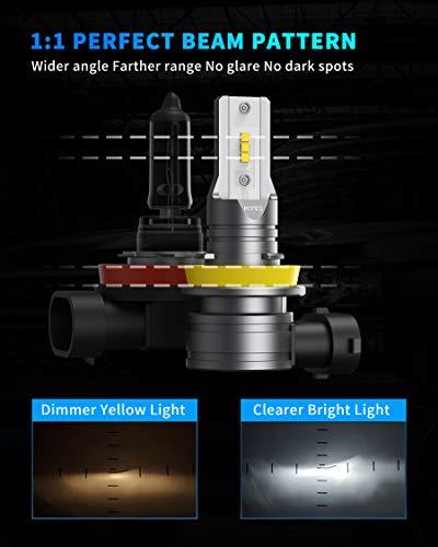 Honcs H11/H8/H9 LED Headlight Bulbs, 300% Brighter Wireless LED Low Beam/Fog Lights, 6500K Cool White LED Headlight Conversion Kit IP67 Waterproof, Pack of 2