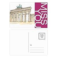 東部ドイツのブランデンブルグのドア ポストカードセットサンクスカード郵送側20個ミス
