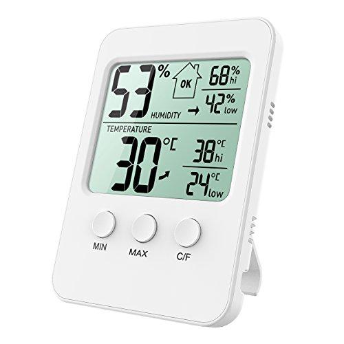 ORIA Digitales Thermo-Hygrometer, Raumthermometer Innen Thermometer Hygrometer Temperatur und Luftfeuchtigkeit Monitor mit Große LCD Display, Min/Max, ℃/℉ Schalter, Ideal für Hause, Büro