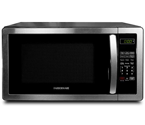 Farberware 1.1 Cu. Ft. Stainless Steel Countertop Microwave Oven With 6 Cooking Programs, LED...