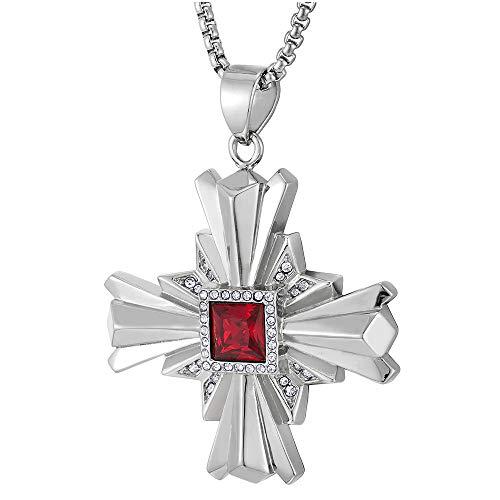 iMETACLII Colgante de Acanalados Cruz con Rojo Piedras y Circonita, Collar de Hombre Mujer, Acero Inoxidable, Cadena de Trigo 75CM