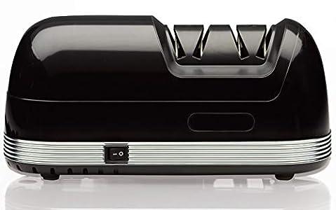 StilGut Afilador de cuchillos eléctrico con 2 niveles de afilado, grueso y fino, rápido y silencioso, color negro