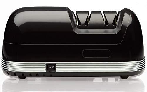 StilGut Aiguiseur de couteaux électrique avec deux étapes d'affûtage, affûteur à meule diamant, antidérapant rapide et silencieux, noir