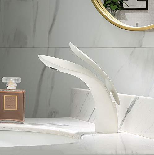BDWS Grifo para lavabo, grifo para lavabo moderno en oro rosa, grifo para baño, un orificio, frío y calor, grifo para lavabo, grifería monomando XT-423 Brazil White