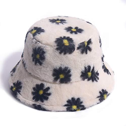 Invierno al Aire Libre Vacaciones señoraNegro sólido Espesado Suave cálido Gorra de Pesca Sombrero de Cubo para Mujer-White Floral