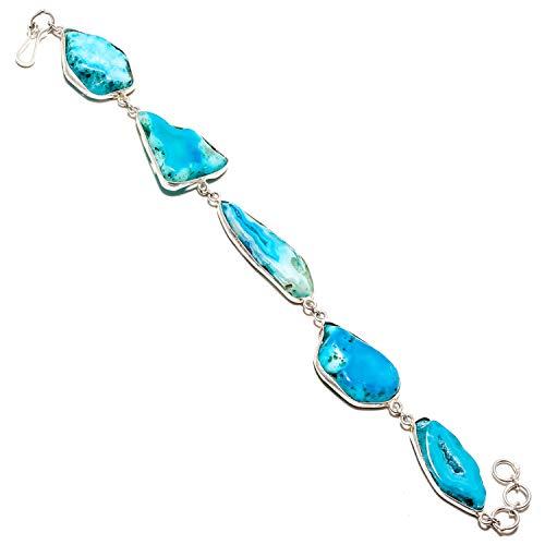 jewels paradise SF-1287 - Pulsera de Plata de Ley 925 con Piedras Preciosas de ágata y Ventana Azul, Ajustable y Flexible (SF-1287)