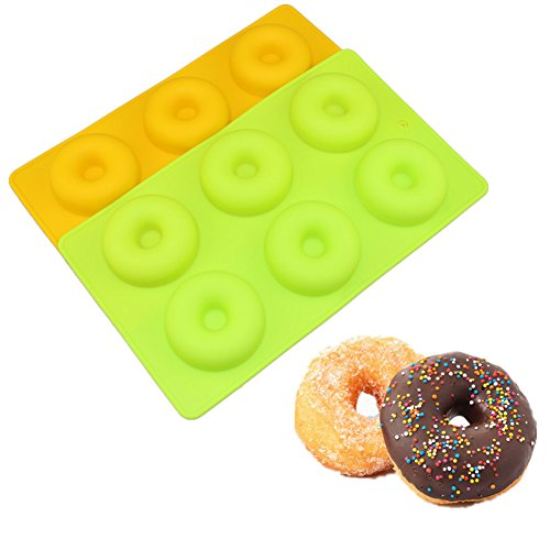 Donut Baking Pan, Silicone, Non-Stick Mold, Bake Full Size Perfect Shaped Doughnuts, All Colors