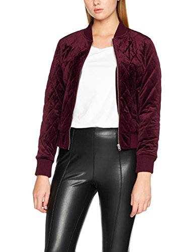Urban Classic TB1468s Damen Ladies Diamond Quilt Velvet Jacket Jacke,, per pack Rot (burgundy 00606), Medium (Herstellergröße: M)