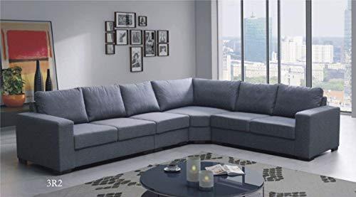 Canapé d'angle 6 places Gris Tissu