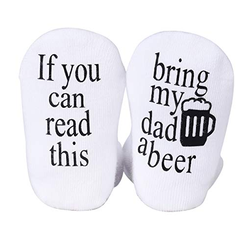 Udobuy Father's Day Gift,Beer Gifts,Baby Socks,Baby Gifts,Unisex Baby Gift,Bring my Dad a Beer Baby Socks,Gift for Baby 3-12 Months Girls or Boys