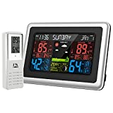 AMIR Upgraded Weather Station, Indoor Outdoor Thermometer Hygrometer, Color Digital Home Weather Forecast Station with 328ft Range Wireless Remote Sensor Backlight LCD Display Alarm Clock
