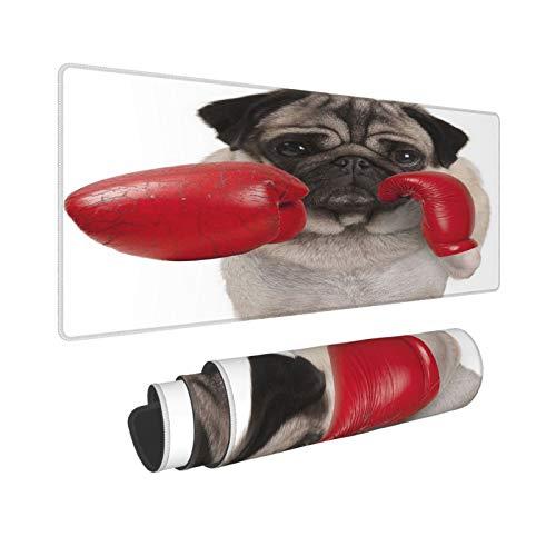 Extra Groß Mauspad mit Genähten Kanten,XXL-90 x 40 x 0.3cm,Cooler Mops-Hundeboxer, der mit roten Leder-Boxhandschuhen,Schreibtisch Mat Personalisiert für Die Arbeit Spiel Büro Computer Laptop