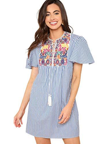 플로에른 여성 짧은 소매 스트라이프 수 놓은 술 타이 넥 드레스