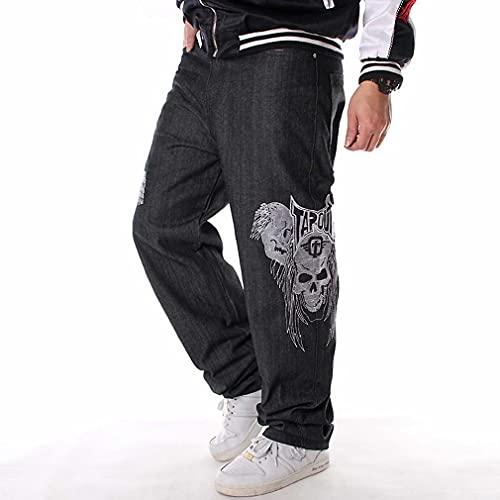 ZXMY Jeans de Trabajo for Hombre, nuevos Vaqueros de Mezclilla de Rayas 2022 Hip Hop Jeans Sueltos Hombres Impresos Hiphop Hip-Hop Cráneo Bordado Influy de la patineta Casual