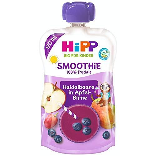 HiPP Smoothie Mix im Quetschbeutel, Heidelbeere in Apfel-Birne, 100% Bio-Früchte ohne Zuckerzusatz, 6 x 120 ml Beutel