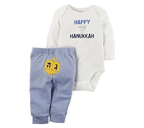 Carter's Baby 2 Piece Long Sleeve Hanukkah Bodysuit and Pants Set Blue 12 Months