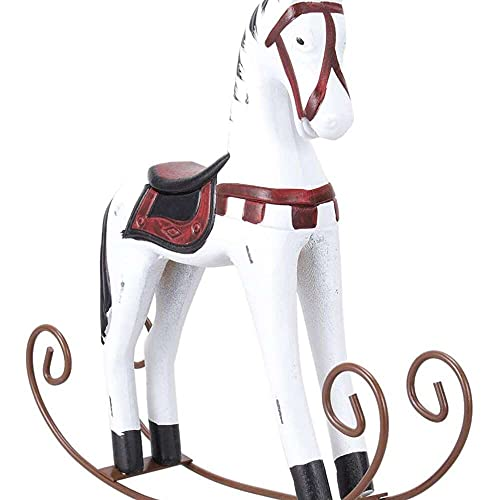 YuKeShop Wooden Rocking Horse Desktop Balance Figurines Tabletop Decoration Kids Toys Figurine for Office Living Room Ornament White