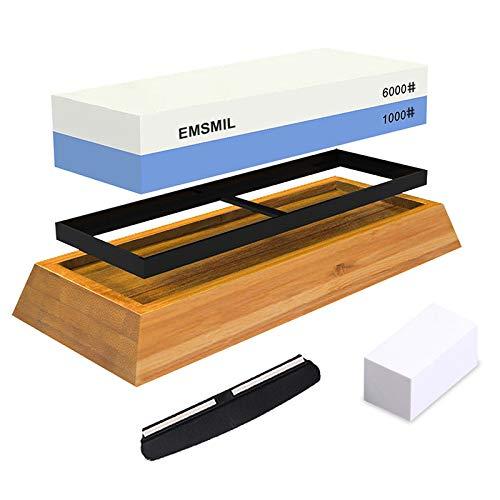 Emsmil Abziehsteine Set Doppelseitig Schleifstein Körnung 1000/6000 Messerschärfer Stein Professionell mit Bambusbasis Rutschfestem Silikonhalte Wetzstein für Küche Messer