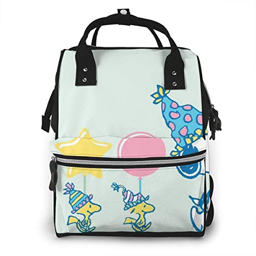 Diaper Bag Backpack - Snoopy Party Time Multifunction Waterproof Travel Backpack Maternity Nappy Changing Bags