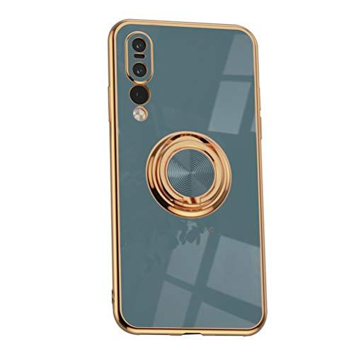Hicaseer Capa para Huawei P20 Pro, anel ultrafino, flexível, à prova de choque, capa de telefone de TPU com suporte magnético para carro, capa durável para Huawei P20 Pro 6,1 polegadas - cinza avó