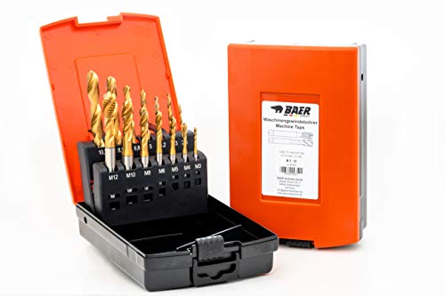 BAER Set HSSE-TIN: Maschinengewindebohrer Sackloch   Kernlochbohrer: M 3-12 - Gewindeschneider-Set   TIN Gewindebohrer-Satz