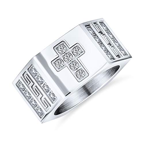 Bling Jewelry Religious Wide Mens Cubic Zirconia CZ Christian Greek Key Cross Ring Band for Men Silver Tone Stainless Steel