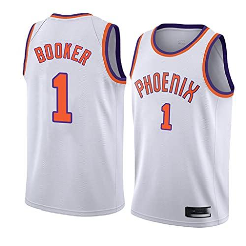 Jersey de la NBA de los hombres Phoenix Suns NBA 1 # Devin Booker Booker Retro Bordado Jersey, Tops de entrenamiento sin mangas transpirable Tops Chaleco para los fanáticos del baloncesto,Blanco,S