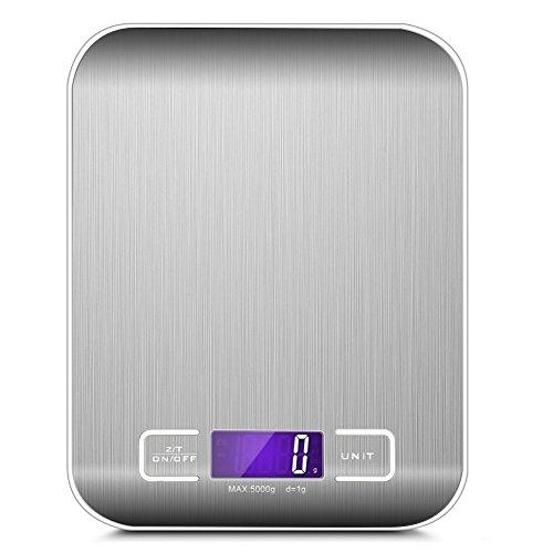 Multifunzione Bilancia da Cucina Digitale,LCD Display Retroilluminato,Acciaio Inossidabile Equilibrio Elettronico in Cucina,5Kg 11lbs,Conversione Unità oz ml lbs g,Argento (2*Batterie AAA 1,5V)