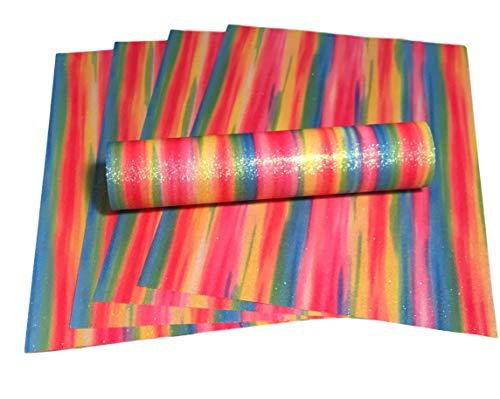 Glitzer-Papier, A4, mehrfarbig, Regenbogenfarben, weich, fusselfrei, 100 g/m², 10...