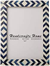 Blue White Chevron Picture Frames – Mosaic Moroccan Pattern Bone Inlay Handmade – Premium Quality Pine MDF Wood Back with 2mm Ultra Transparent Acrylic Plexiglass – Hang or Sit 5x7
