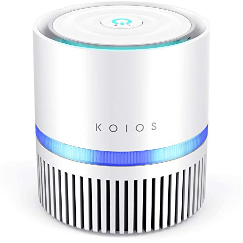 KOIOS Air Purifier, Desktop Air Filtration with True HEPA Filter, Compact Home Air Cleaner for Rooms and Offices,Odor Allergen Allergies Eliminator, with 2 Speeds,100% Ozone Free(Air Purifier-White)