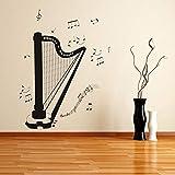 ganlanshu Décoration de la Maison Auto-adhésive diverses Notes décoration de Salon Harpe Autocollant Mural Amovible 59cmx73cm