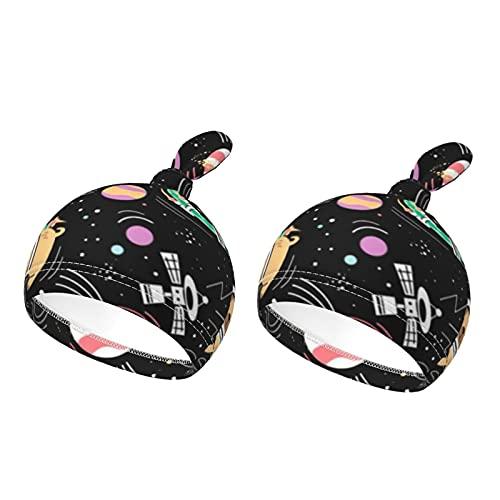 Gorro de bebé para bebés de 0 a 6 meses, diseño de mascotas en la galaxia, color negro