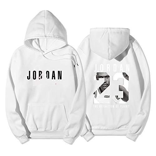 Dybory 23# Jordan Herren Damen Basketball Hoodie, NBA Chicago Bulls Jersey, Jugend Pullover Mode Loose Basketball Sweatshirt Tops,Weiß,XXL