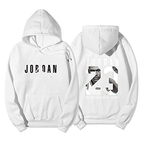 Dybory 23# Jordan Herren Damen Basketball Hoodie, NBA Chicago Bulls Jersey, Jugend Pullover Mode Loose Basketball Sweatshirt Tops,Weiß,M