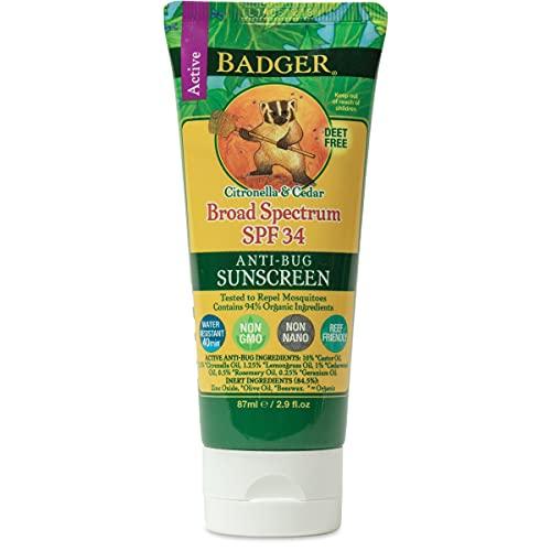 Badger - SPF 34 Anti-Bug Sunscreen Cream - DEET-Free Sunscreen Bug