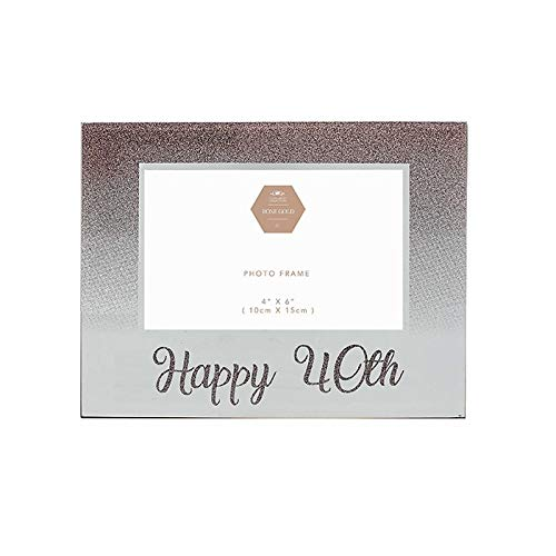 Kleinere & Pavey Gelukkige 40e Verjaardag Rose Goud Glitter fotolijst Gift