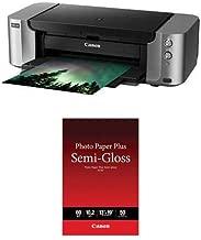 Canon PIXMA PRO-100 Professional Inkjet Photo Printer, 4800x2400 Resolution, WiFi, 13x19 Max Paper Size - with 13x19 Photo Paper Pro Semi-Gloss 50 Sheets